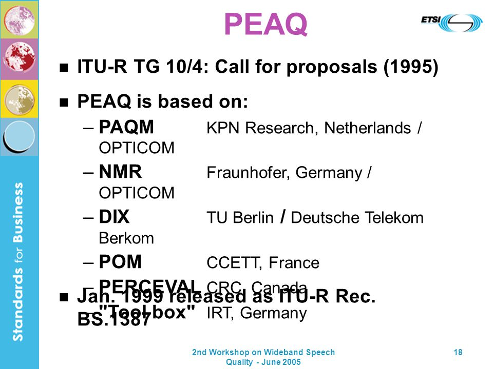 2nd Workshop on Wideband Speech Quality - June 2005 18 PEAQ is based on: –PAQM KPN Research, Netherlands / OPTICOM –NMR Fraunhofer, Germany / OPTICOM –DIX TU Berlin / Deutsche Telekom Berkom –POM CCETT, France –PERCEVAL CRC, Canada – Tool box IRT, Germany ITU-R TG 10/4: Call for proposals (1995) Jan.