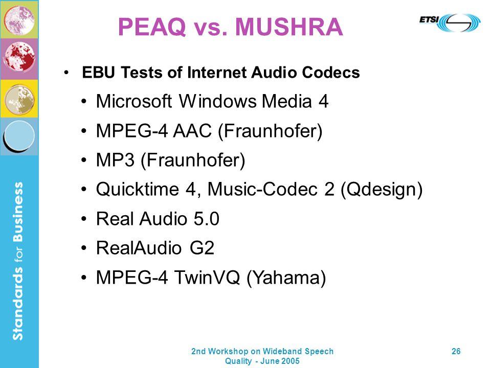 2nd Workshop on Wideband Speech Quality - June 2005 26 PEAQ vs. MUSHRA Microsoft Windows Media 4 MPEG-4 AAC (Fraunhofer) MP3 (Fraunhofer) Quicktime 4,