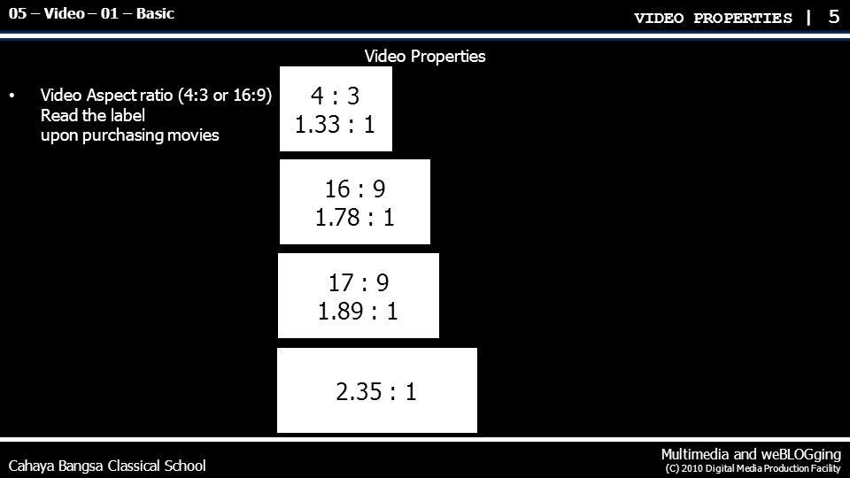 Cahaya Bangsa Classical School Multimedia and weBLOGging (C) 2010 Digital Media Production Facility Video Properties Video resolution DVD 720x480 Standard HD 1280x720 Blu-Ray Full HD (1080p) 1920x1080 Digital Cinema 2K 2048x1080 Digital Cinema 4K 4096x2160 2160p 3840x2160 2540p 4520x2540 Ultra High Definition (Ultra HD) 4320p 7680x4320 charts on next slide VIDEO PROPERTIES | 6 05 – Video – 01 – Basic