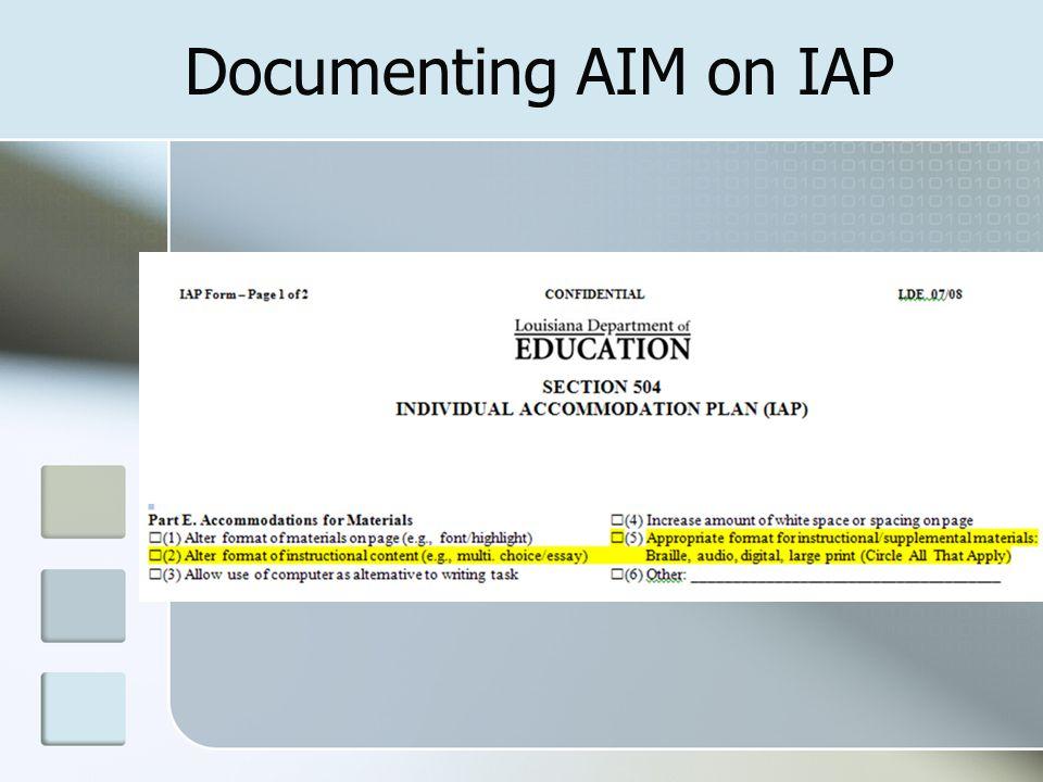 Documenting AIM on IAP