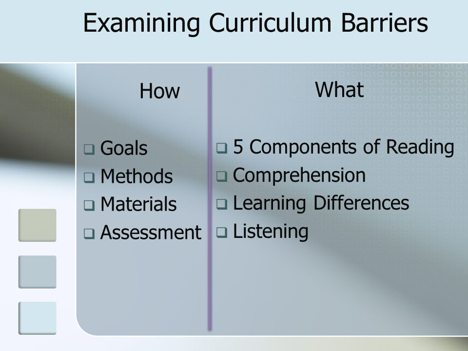 Examining Curriculum Barriers How  Goals  Methods  Materials  Assessment What  5 Components of Reading  Comprehension  Learning Differences  Listening