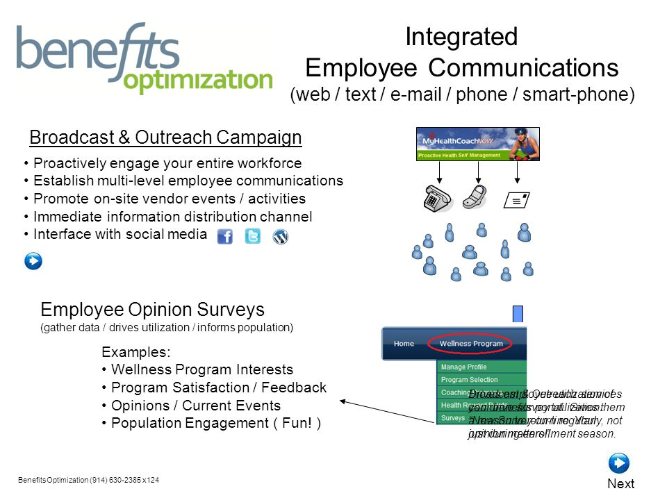  Proactively engage your entire workforce Establish multi-level employee communications Promote on-site vendor events / activities Immediate information distribution channel Interface with social media Broadcast & Outreach Campaign BenefitsOptimization (914) 630-2385 x124 Next Employee Opinion Surveys (gather data / drives utilization / informs population) Examples: Wellness Program Interests Program Satisfaction / Feedback Opinions / Current Events Population Engagement ( Fun.
