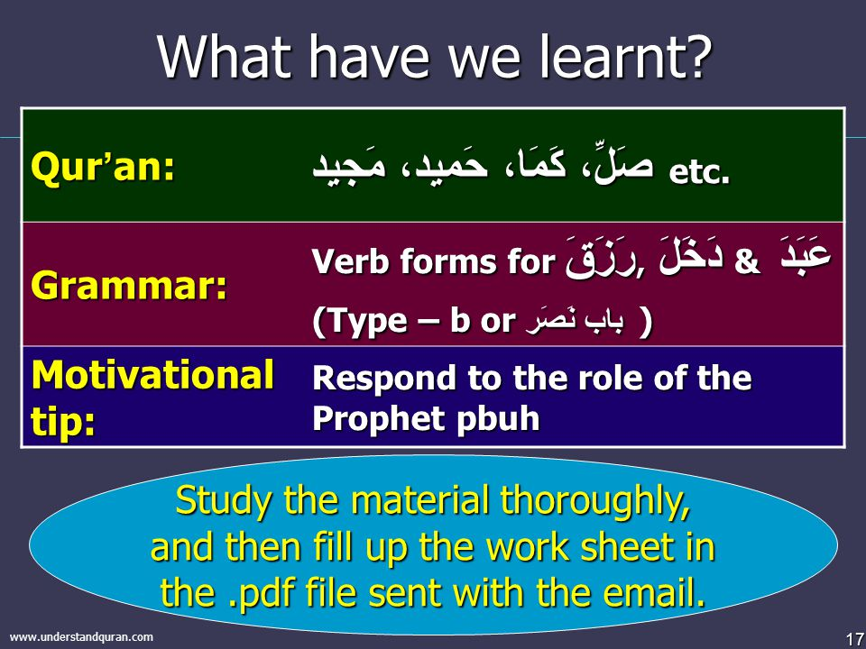 17 www.understandquran.com What have we learnt? Study the material thoroughly, and then fill up the work sheet in the.pdf file sent with the email. Qu