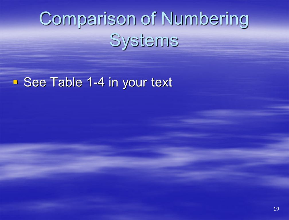 Comparison of Numbering Systems  See Table 1-4 in your text 19