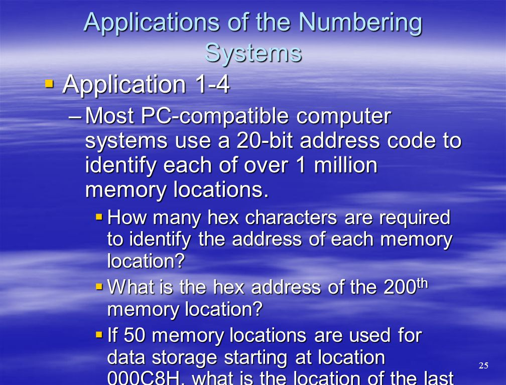 Applications of the Numbering Systems  Application 1-4 –Most PC-compatible computer systems use a 20-bit address code to identify each of over 1 mill