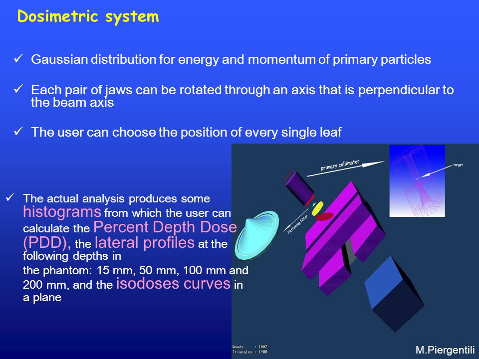 Dosimetric system The actual analysis produces some histograms from which the user can calculate the Percent Depth Dose (PDD), the lateral profiles at the following depths in the phantom: 15 mm, 50 mm, 100 mm and 200 mm, and the isodoses curves in a plane Gaussian distribution for energy and momentum of primary particles Each pair of jaws can be rotated through an axis that is perpendicular to the beam axis The user can choose the position of every single leaf M.Piergentili