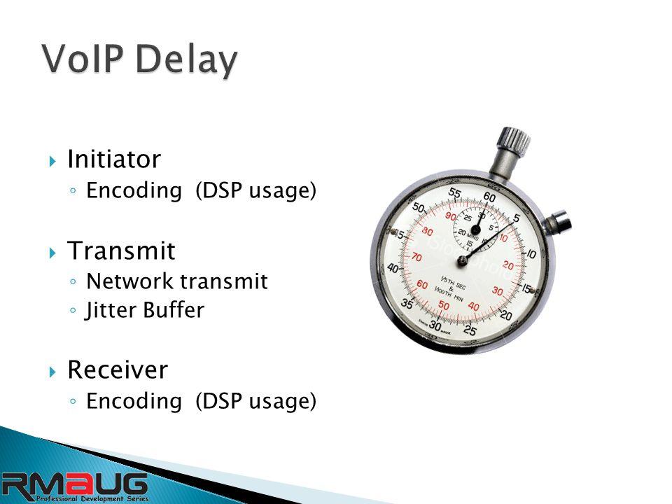  Initiator ◦ Encoding (DSP usage)  Transmit ◦ Network transmit ◦ Jitter Buffer  Receiver ◦ Encoding (DSP usage)