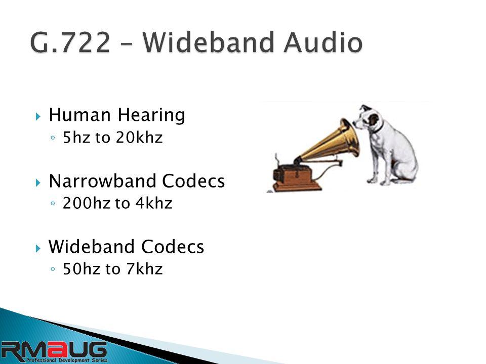  Human Hearing ◦ 5hz to 20khz  Narrowband Codecs ◦ 200hz to 4khz  Wideband Codecs ◦ 50hz to 7khz