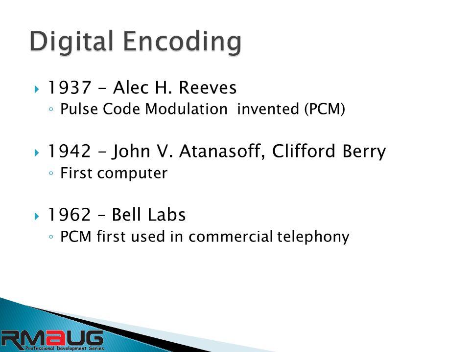  1937 - Alec H. Reeves ◦ Pulse Code Modulation invented (PCM)  1942 - John V.
