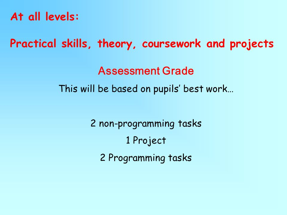 At all levels: Practical skills, theory, coursework and projects Assessment Grade This will be based on pupils' best work… 2 non-programming tasks 1 Project 2 Programming tasks