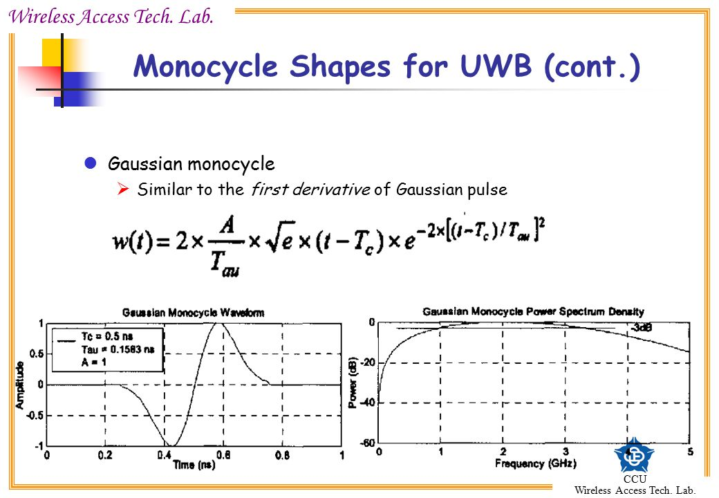Wireless Access Tech. Lab. CCU Wireless Access Tech. Lab. Monocycle Shapes for UWB (cont.) Gaussian monocycle  Similar to the first derivative of Gau