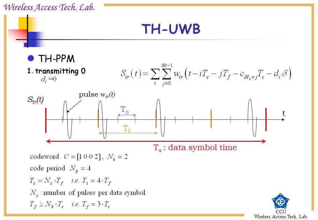 Wireless Access Tech. Lab. CCU Wireless Access Tech. Lab. TH-UWB TH-PPM 1. transmitting 0 TfTf T s : data symbol time TcTc t pulse w tr (t) S tr (t)