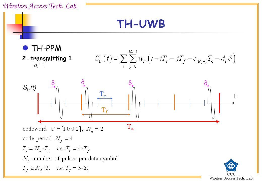 Wireless Access Tech. Lab. CCU Wireless Access Tech. Lab. TH-UWB TH-PPM 2. transmitting 1 TfTf TsTs TcTc t     S tr (t)