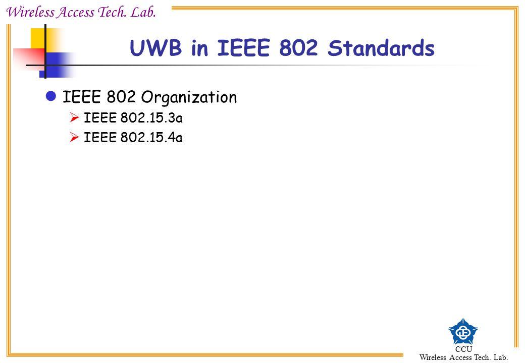 Wireless Access Tech. Lab. CCU Wireless Access Tech. Lab. UWB in IEEE 802 Standards IEEE 802 Organization  IEEE 802.15.3a  IEEE 802.15.4a