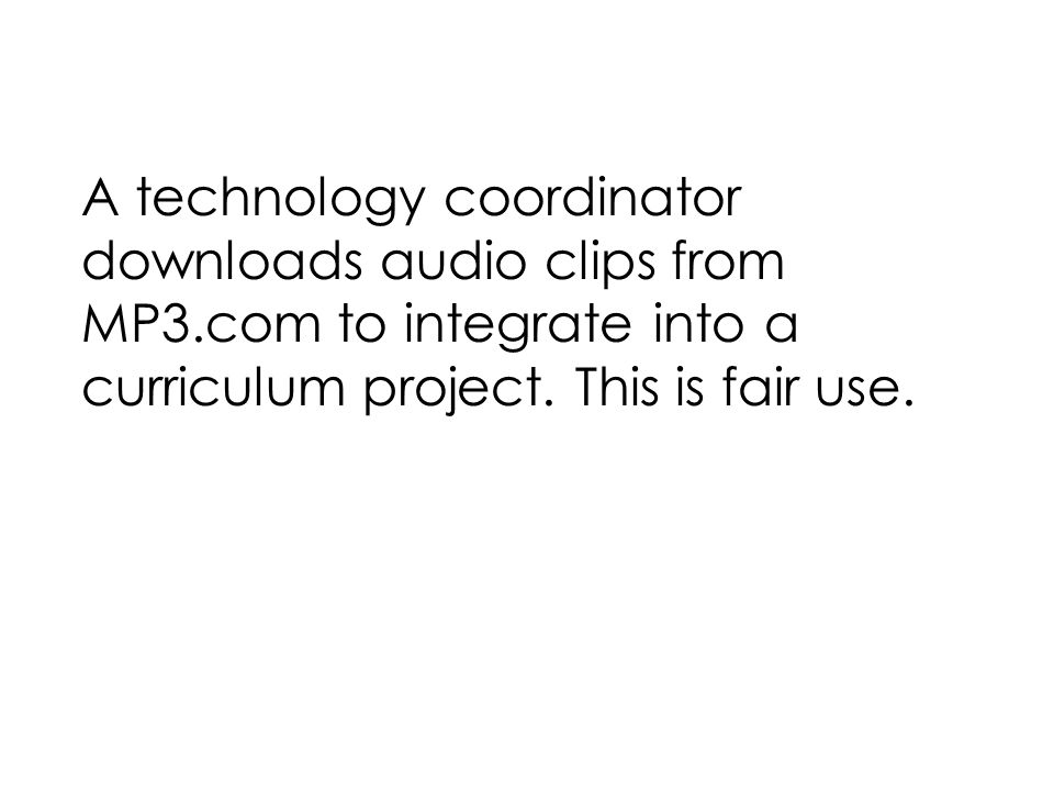 A technology coordinator downloads audio clips from MP3.com to integrate into a curriculum project.