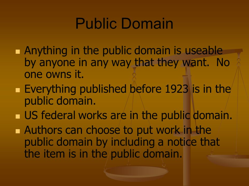 Public Domain Examples Project Gutenberg (many sites including http://promo.net/pg/) places classics in the public domain online which are scanned by volunteers.