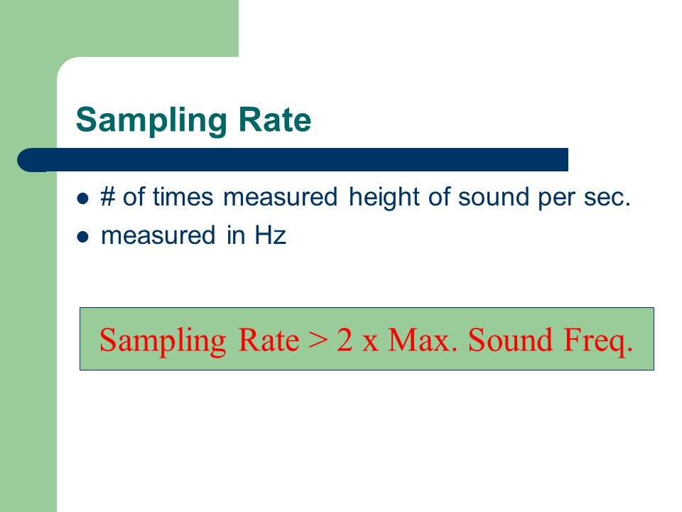 Sampling Rate # of times measured height of sound per sec.