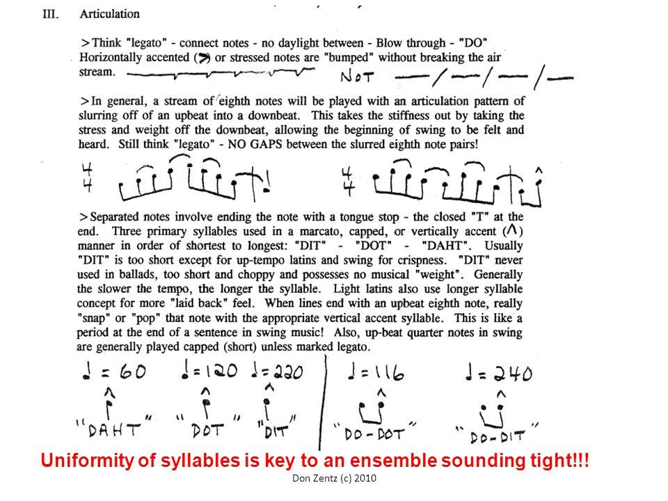 Uniformity of syllables is key to an ensemble sounding tight!!! Don Zentz (c) 2010