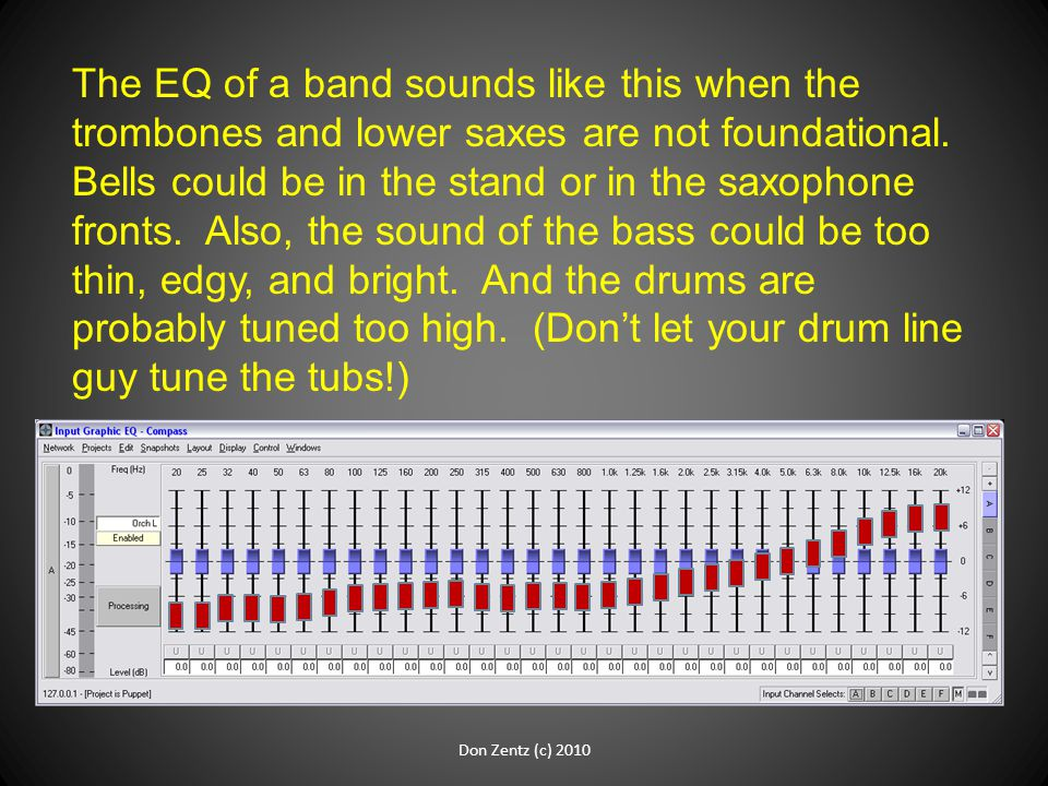 The EQ of a band sounds like this when the trombones and lower saxes are not foundational. Bells could be in the stand or in the saxophone fronts. Als