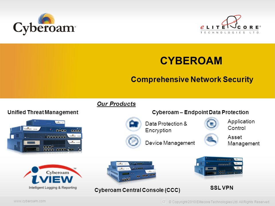 www.cyberoam.com © Copyright 2010 Elitecore Technologies Ltd. All Rights Reserved. Comprehensive Network Security Our Products Unified Threat Manageme