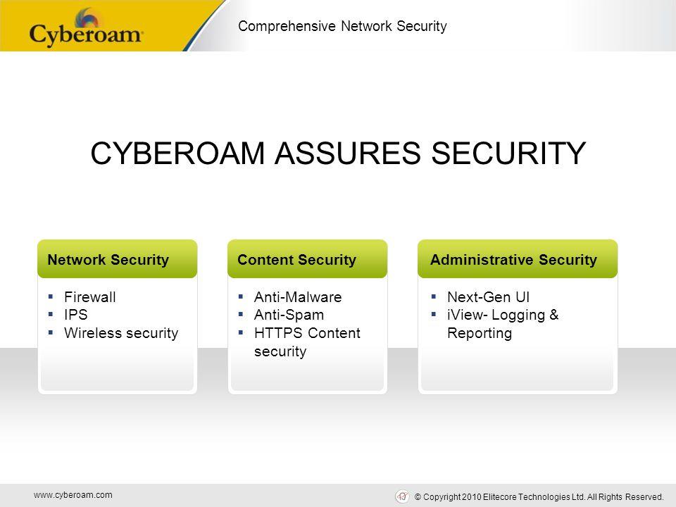 www.cyberoam.com © Copyright 2010 Elitecore Technologies Ltd. All Rights Reserved. Comprehensive Network Security CYBEROAM ASSURES SECURITY Network Se