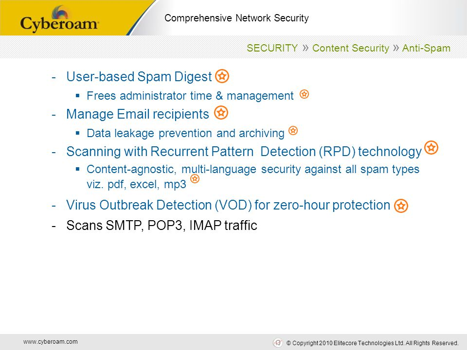 www.cyberoam.com © Copyright 2010 Elitecore Technologies Ltd. All Rights Reserved. Comprehensive Network Security -User-based Spam Digest  Frees admi