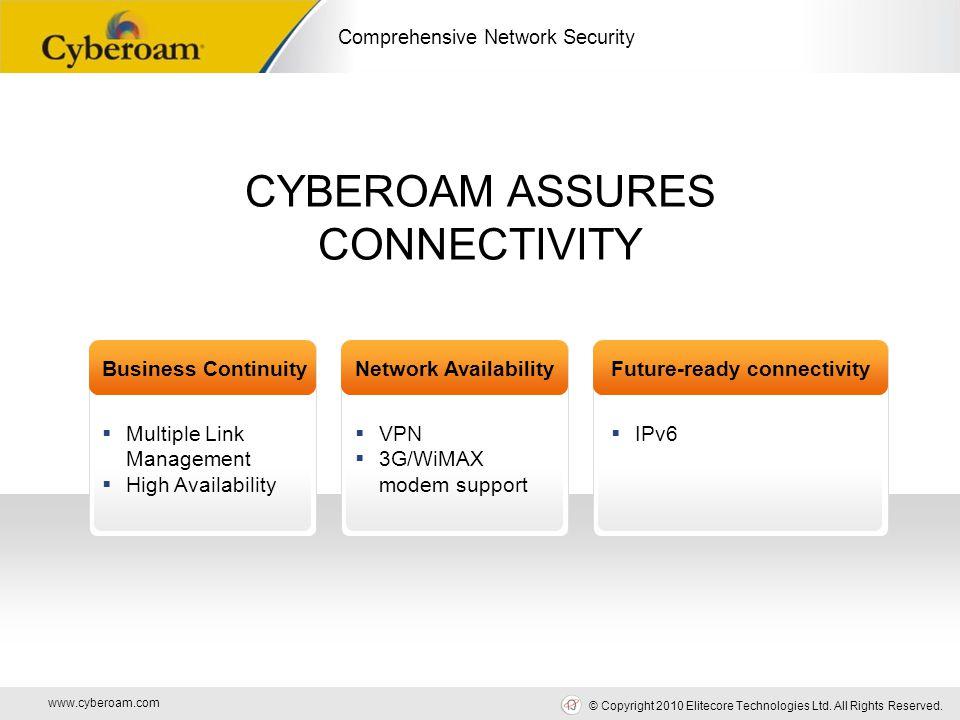 www.cyberoam.com © Copyright 2010 Elitecore Technologies Ltd. All Rights Reserved. Comprehensive Network Security CYBEROAM ASSURES CONNECTIVITY Busine