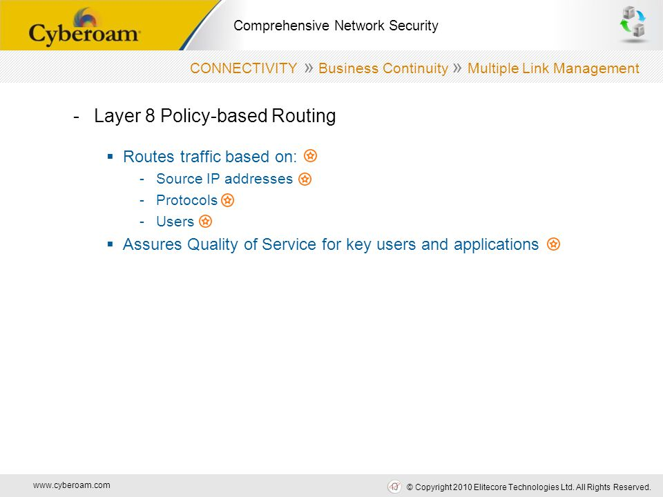 www.cyberoam.com © Copyright 2010 Elitecore Technologies Ltd. All Rights Reserved. Comprehensive Network Security -Layer 8 Policy-based Routing  Rout