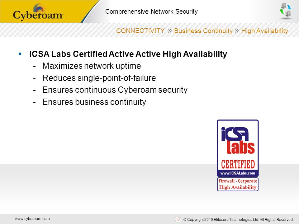 www.cyberoam.com © Copyright 2010 Elitecore Technologies Ltd. All Rights Reserved. Comprehensive Network Security  ICSA Labs Certified Active Active