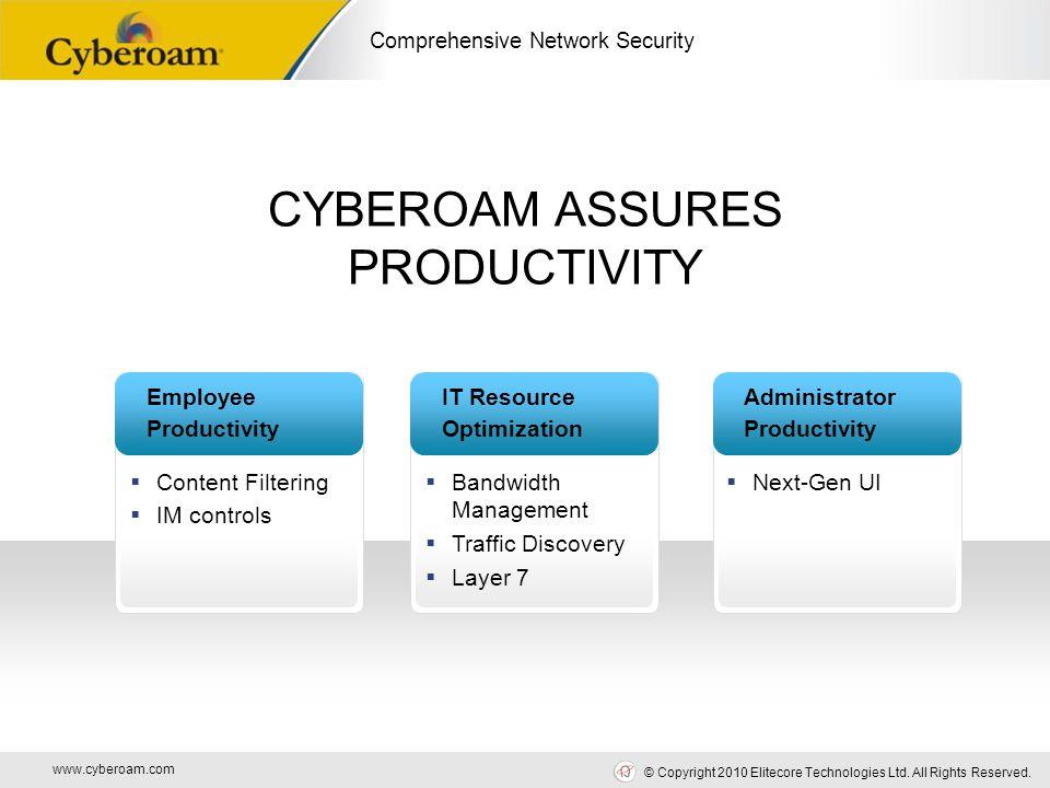 www.cyberoam.com © Copyright 2010 Elitecore Technologies Ltd. All Rights Reserved. Comprehensive Network Security CYBEROAM ASSURES PRODUCTIVITY Employ