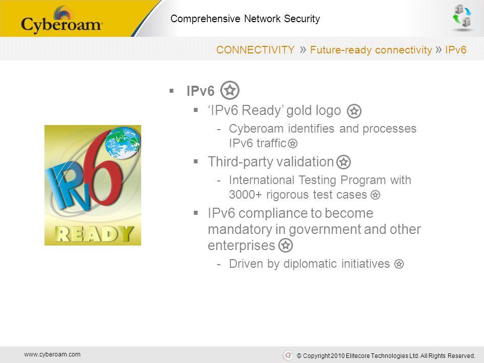 www.cyberoam.com © Copyright 2010 Elitecore Technologies Ltd. All Rights Reserved. Comprehensive Network Security  IPv6  'IPv6 Ready' gold logo -Cyb