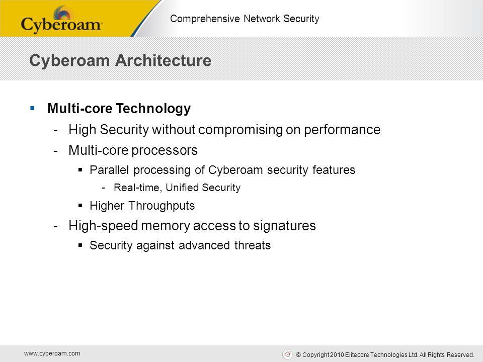 www.cyberoam.com © Copyright 2010 Elitecore Technologies Ltd. All Rights Reserved. Comprehensive Network Security  Multi-core Technology -High Securi