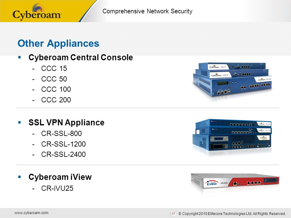 www.cyberoam.com © Copyright 2010 Elitecore Technologies Ltd. All Rights Reserved. Comprehensive Network Security Other Appliances  Cyberoam Central