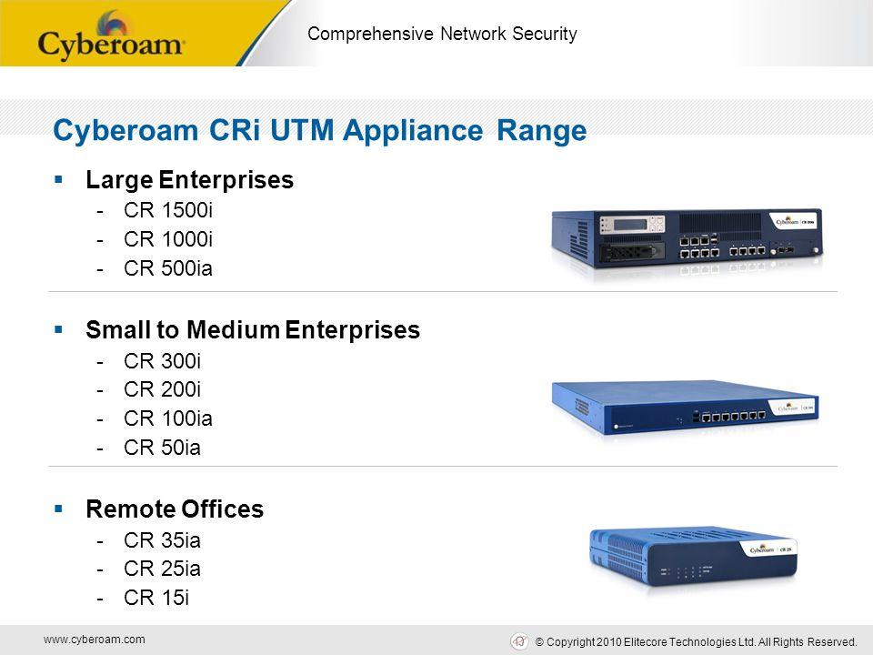 www.cyberoam.com © Copyright 2010 Elitecore Technologies Ltd. All Rights Reserved. Comprehensive Network Security Cyberoam CRi UTM Appliance Range  L