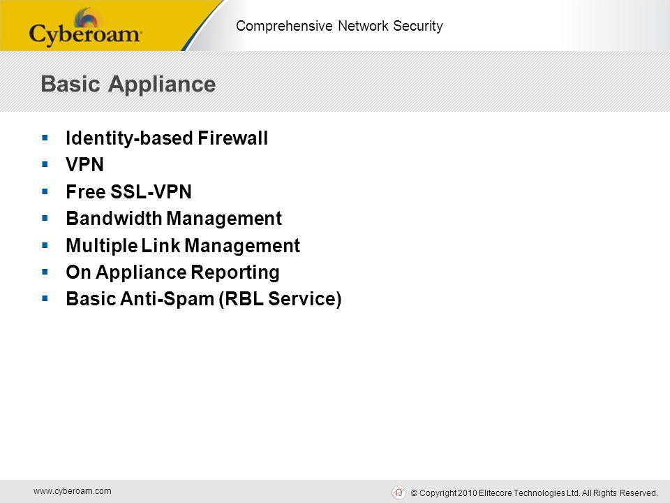 www.cyberoam.com © Copyright 2010 Elitecore Technologies Ltd. All Rights Reserved. Comprehensive Network Security  Identity-based Firewall  VPN  Fr