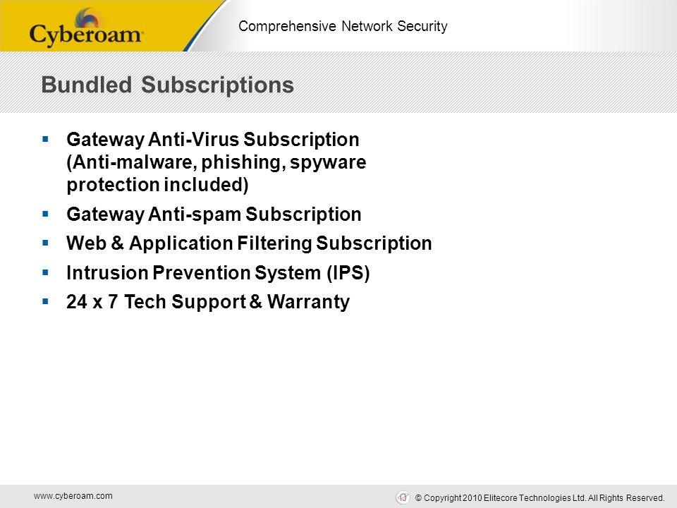 www.cyberoam.com © Copyright 2010 Elitecore Technologies Ltd. All Rights Reserved. Comprehensive Network Security  Gateway Anti-Virus Subscription (A