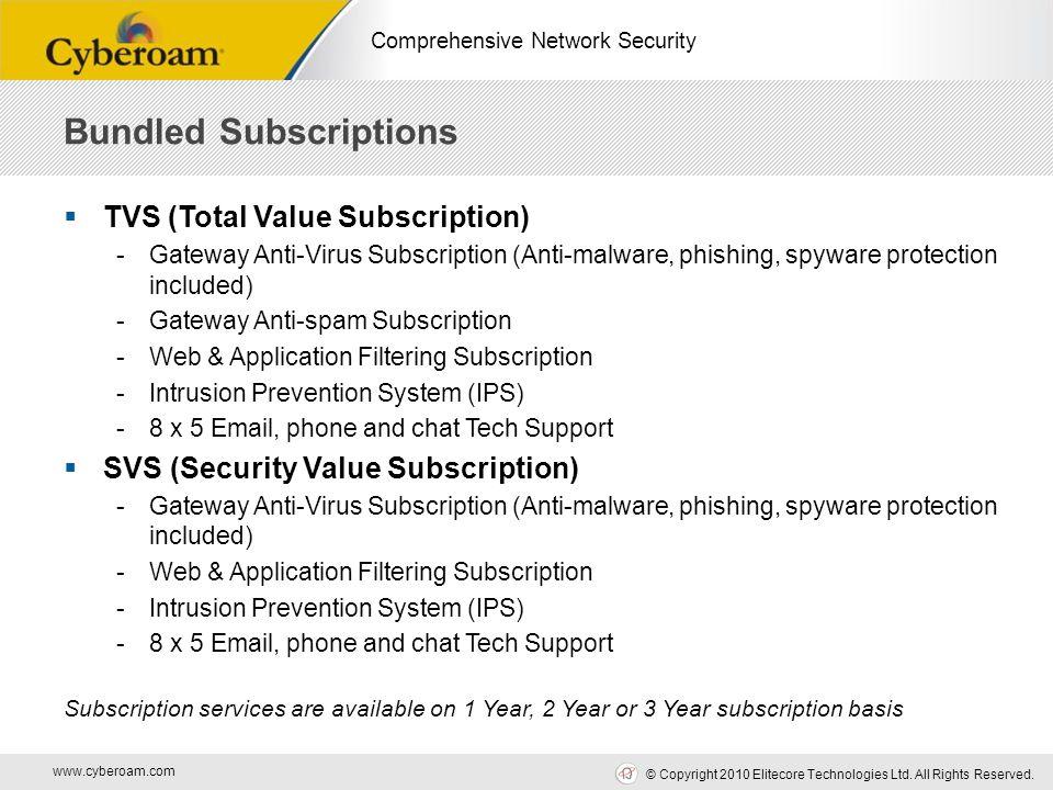 www.cyberoam.com © Copyright 2010 Elitecore Technologies Ltd. All Rights Reserved. Comprehensive Network Security Bundled Subscriptions  TVS (Total V