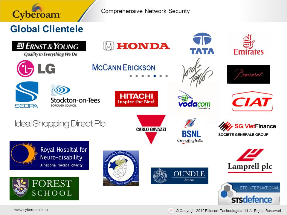 www.cyberoam.com © Copyright 2010 Elitecore Technologies Ltd. All Rights Reserved. Comprehensive Network Security Global Clientele