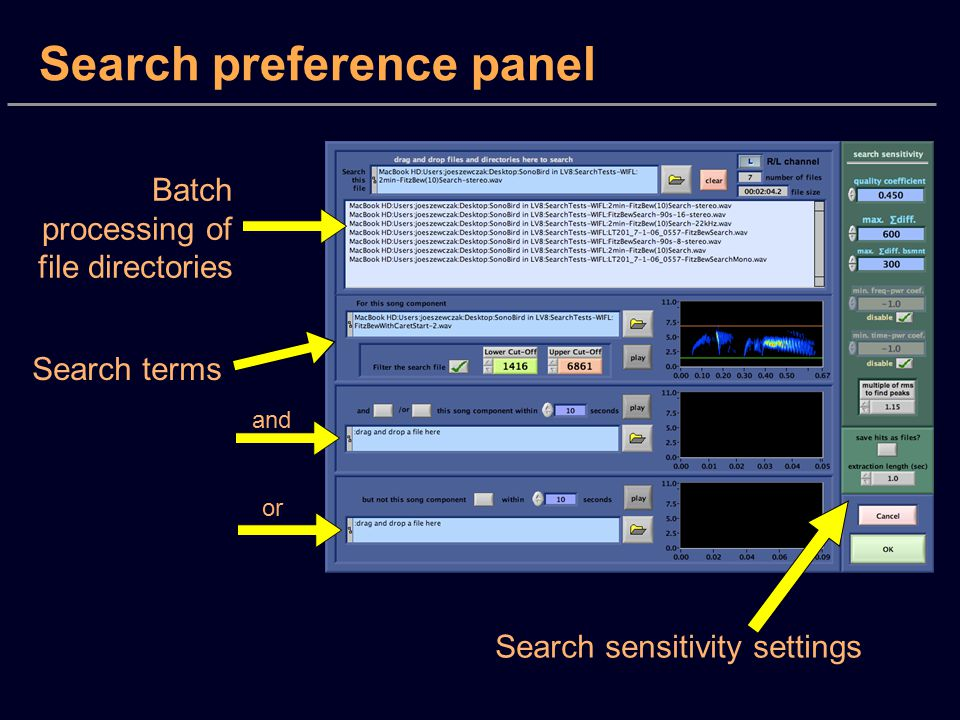 Search preference panel Batch processing of file directories Search terms and or Search sensitivity settings