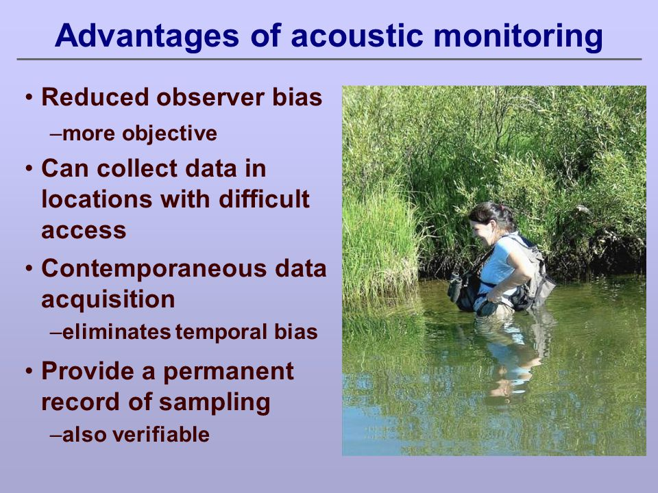 Technical approach: Develop hardware and software technology to: automatically and continuously monitor birds and other acoustic signals (e.g., bats) for weeks or months at a time, automatically process field- collected data to confidently assess species presence/absence, population levels, temporal movements, and acoustically-gleaned demographic information.