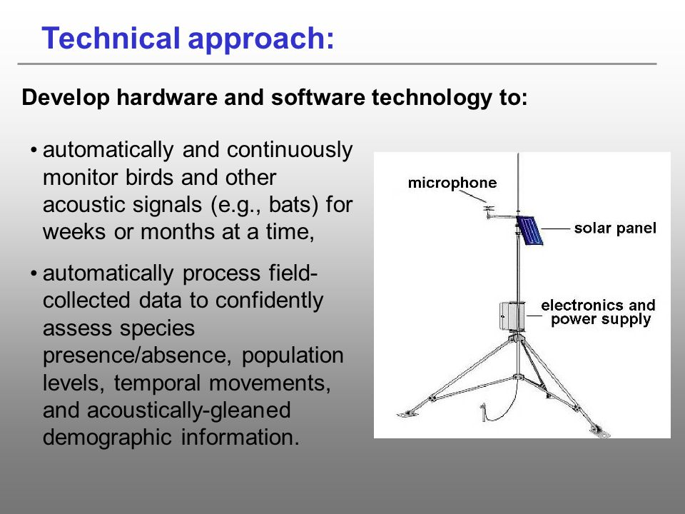 Technical approach: Develop hardware and software technology to: automatically and continuously monitor birds and other acoustic signals (e.g., bats)