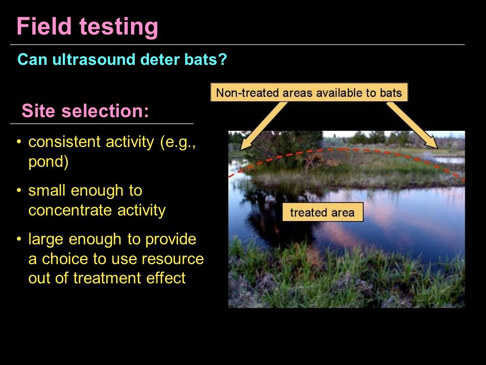 Field testing consistent activity (e.g., pond) small enough to concentrate activity large enough to provide a choice to use resource out of treatment