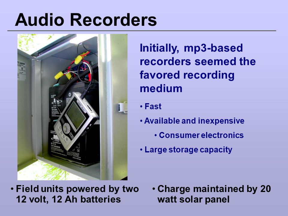 Audio Recorders Initially, mp3-based recorders seemed the favored recording medium Fast Available and inexpensive Consumer electronics Large storage c