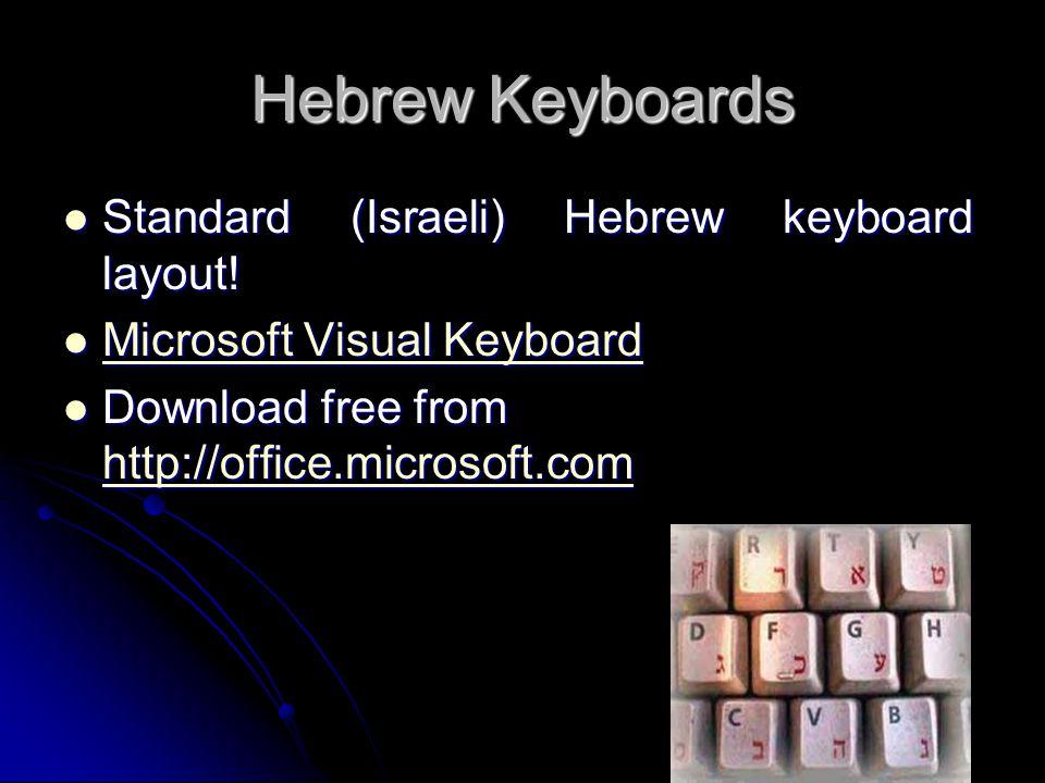 Hebrew Keyboards Standard (Israeli) Hebrew keyboard layout! Standard (Israeli) Hebrew keyboard layout! Microsoft Visual Keyboard Microsoft Visual Keyb