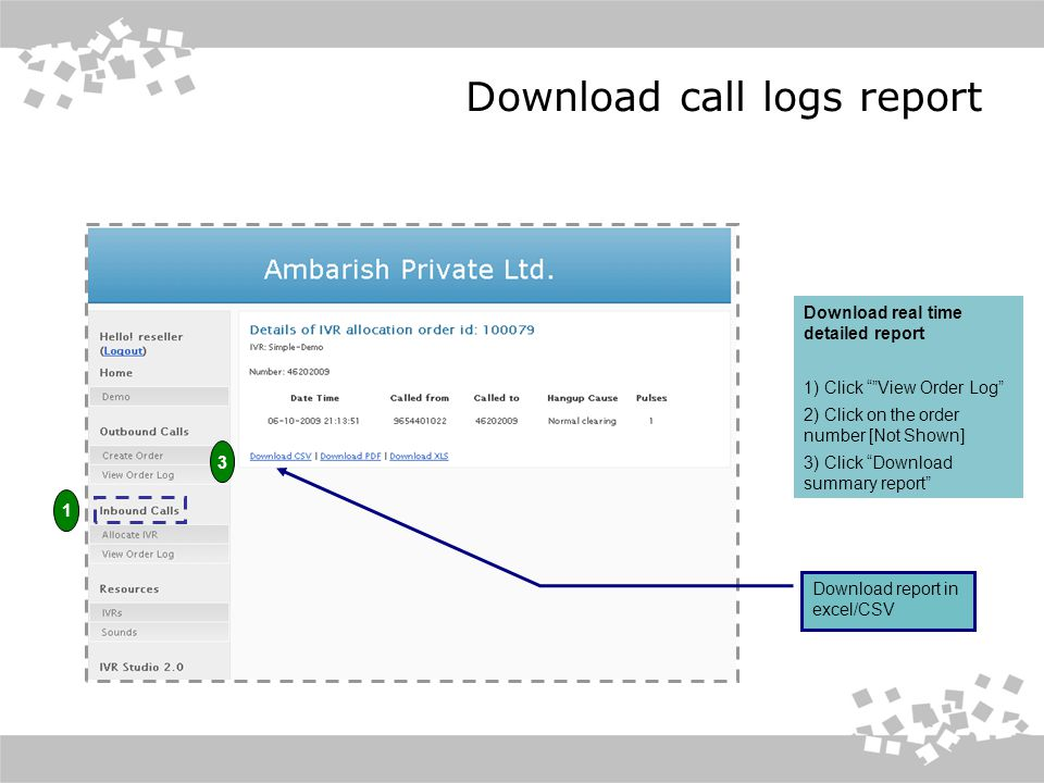 Download call logs report Download real time detailed report 1) Click View Order Log 2) Click on the order number [Not Shown] 3) Click Download summary report Download report in excel/CSV 1 3