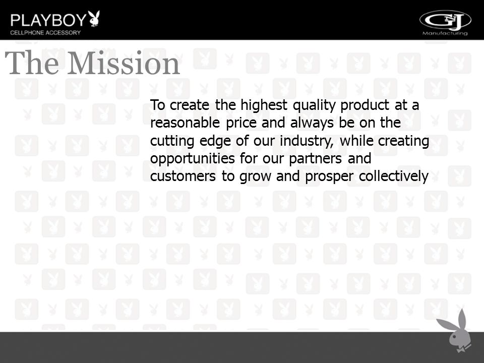 THE MISSION To create the highest quality product at a reasonable price and always be on the cutting edge of our industry, while creating opportunitie