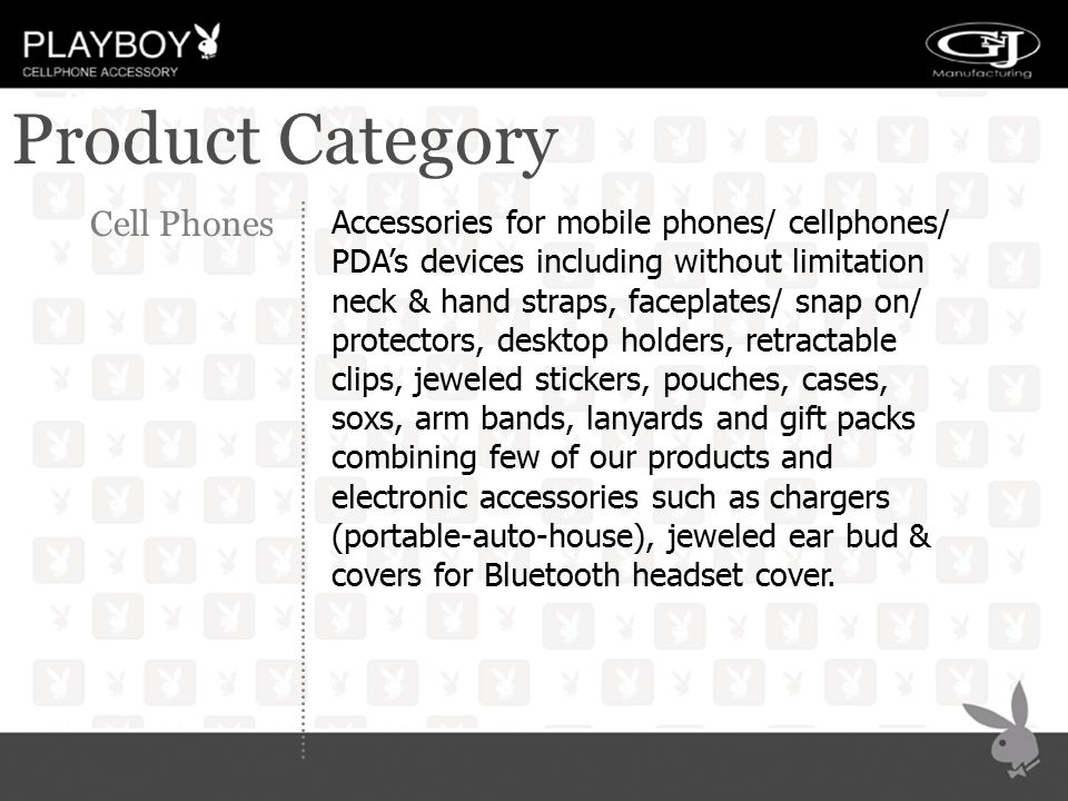 Product Category Cell Phones Accessories for mobile phones/ cellphones/ PDA's devices including without limitation neck & hand straps, faceplates/ sna