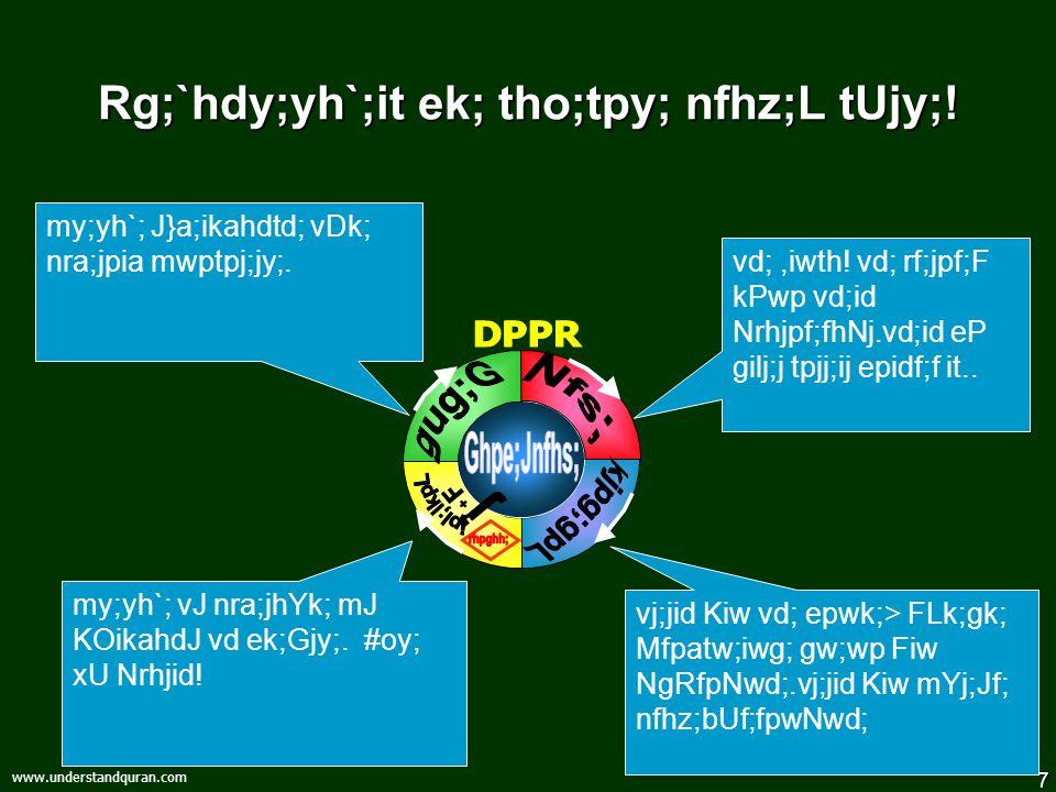 7 www.understandquran.com Rg;`hdy;yh`;it ek; tho;tpy; nfhz;L tUjy;! vj;jid Kiw vd; epwk;> FLk;gk; Mfpatw;iwg; gw;wp Fiw NgRfpNwd;.vj;jid Kiw mYj;Jf; n
