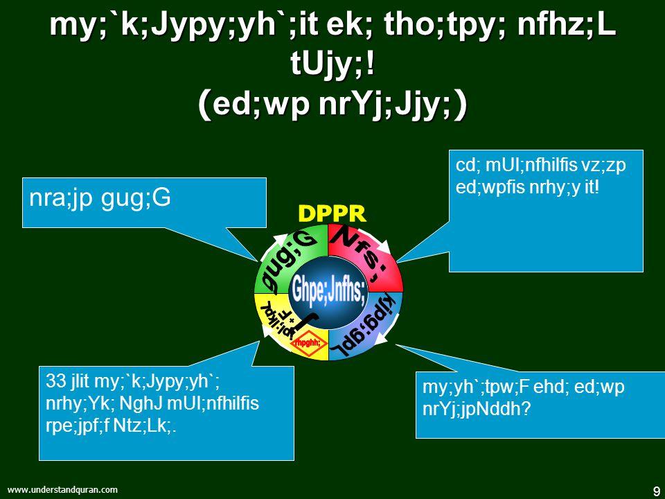 9 www.understandquran.com my;`k;Jypy;yh`;it ek; tho;tpy; nfhz;L tUjy;! ( ed;wp nrYj;Jjy; ) my;yh`;tpw;F ehd; ed;wp nrYj;jpNddh? 33 jlit my;`k;Jypy;yh`
