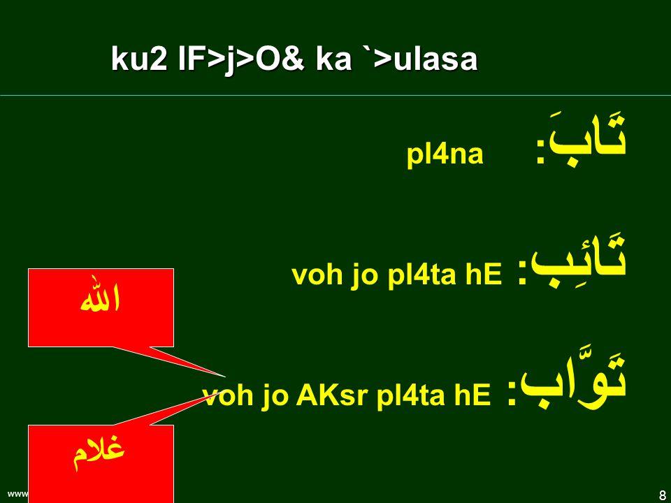 8 www.understandquran.com تَابَ : pl4na تَائِب : voh jo pl4ta hE تَوَّاب : voh jo AKsr pl4ta hE اللہ غلام ku2 lF>j>O& ka `>ulasa